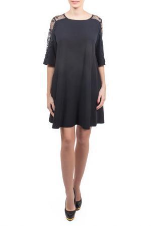 Свободное платье с кружевными элементами Piena. Цвет: черный, полиэстер