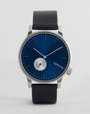 Komono Часы с черным кожаным ремешком и синим циферблатом Winston Subs. Цвет: черный