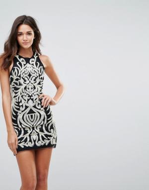 Endless Rose Платье мини с отделкой пайетками. Цвет: черный