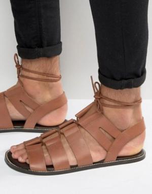 ASOS Светло-коричневые кожаные гладиаторские сандалии со шнуровкой. Цвет: рыжий
