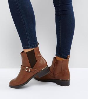 New Look Wide Fit Ботинки челси из кожзаменителя для широкой стопы. Цвет: рыжий