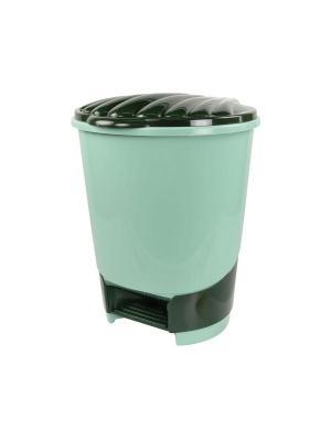 Ведро для мусора с педалью 10л. (зелёный) Альтернатива. Цвет: зеленый, светло-зеленый