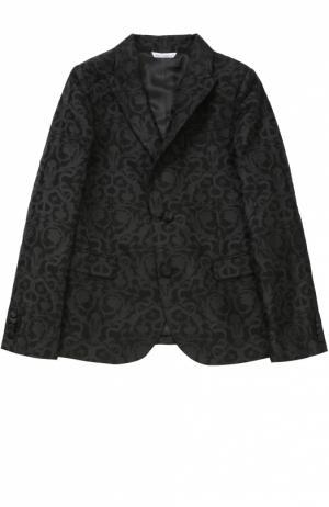 Пиджак из фактурной ткани с узором Dolce & Gabbana. Цвет: черный