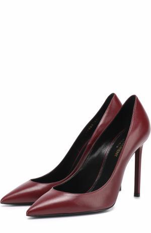 Кожаные туфли Anja на шпильке Saint Laurent. Цвет: бордовый