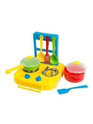 Набор посуды столовый Ромашка с плиткой 7 эл. ТИГРЕС. Цвет: желтый, синий, зеленый, красный