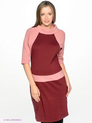 Платье для беременных ФЭСТ. Цвет: бордовый, бледно-розовый