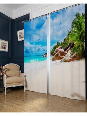 Фотошторы Карибский берег, Блэкаут Сирень. Цвет: голубой, бежевый, зеленый, бирюзовый, серый, коричневый