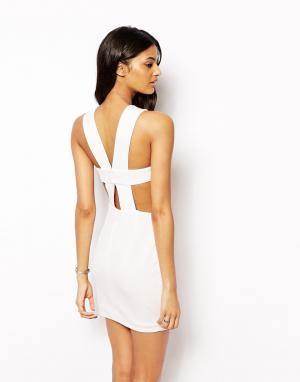 AQ Платье 2 в 1 с ремешками на спине Chrissy. Цвет: кремовый