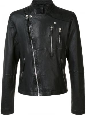 Асимметричная байкерская куртка Barbara I Gongini. Цвет: чёрный