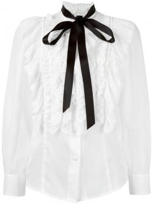 Прозрачная блузка с оборками Marc Jacobs. Цвет: белый