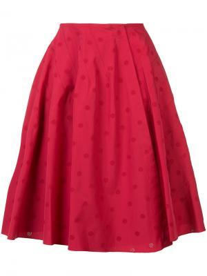 Расклешенная юбка в горох Alaïa. Цвет: красный