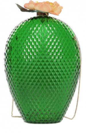 Клатч Cactus на цепочке Charlotte Olympia. Цвет: зеленый
