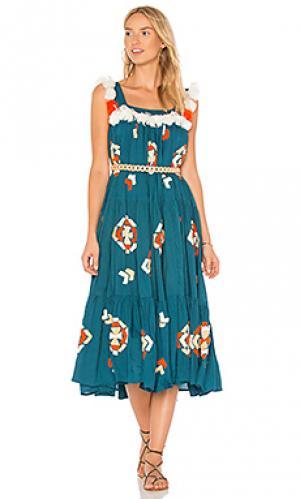 Платье the tassa All Things Mochi. Цвет: сине-зеленый