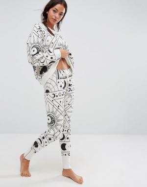 Wildfox Пижамные джоггеры Moon Astrology. Цвет: серый