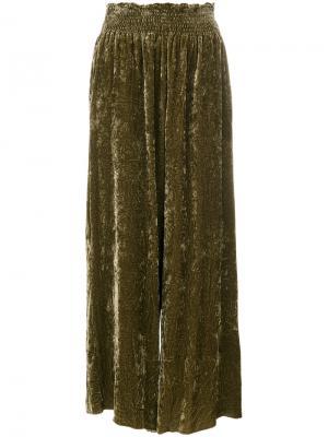 Брюки-палаццо с эластичной талией Forte. Цвет: зелёный