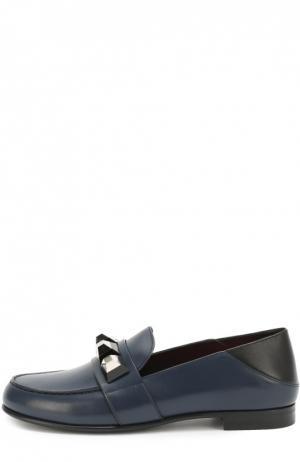Кожаные лоферы с декором Fendi. Цвет: синий