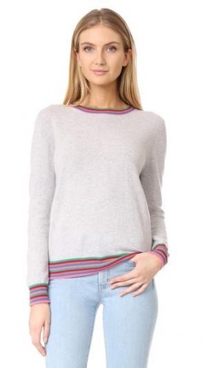 Кашемировый свитер с полосатыми манжетами Chinti and Parker. Цвет: серебряный фактурный/мульти