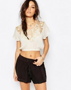 Somedays Пляжная блузка со вставкой кроше Lovin Stones. Цвет: бежевый
