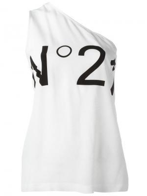Асимметричный топ с логотипом Nº21. Цвет: белый