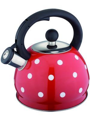 Стильный чайник в горошек со свистком 2,0л. RAINSTAHL. Цвет: красный