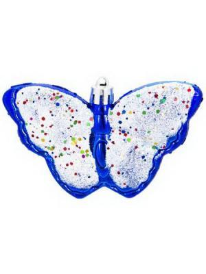 Набор украшений 4, 10см, пластик, Бабочки СНОУБУМ. Цвет: синий