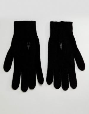 AllSaints Черные перчатки с добавлением овечьей шерсти Fen. Цвет: черный