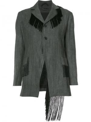 Пиджак с бахромой Area Di Barbara Bologna. Цвет: серый