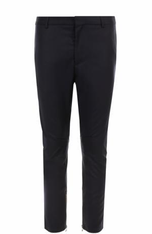 Укороченные брюки прямого кроя из смеси шерсти и кашемира Lanvin. Цвет: темно-синий