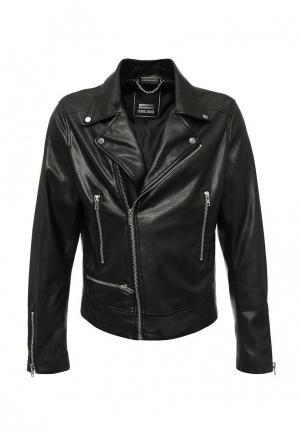 Куртка кожаная Criminal Damage. Цвет: черный