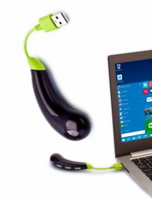 Разветвитель USB БАКЛАЖАН, темно-фиолетовый BRADEX. Цвет: темно-фиолетовый