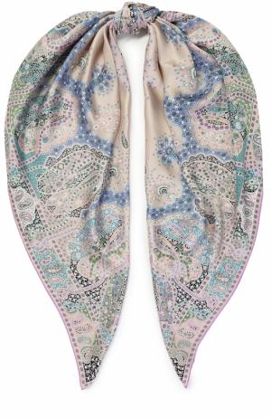 Шелковый платок с принтом Michele Binda. Цвет: сиреневый
