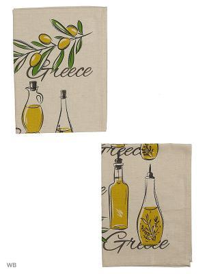 Полотенца Олива, 2 шт., с петелькой GrandStyle. Цвет: оливковый