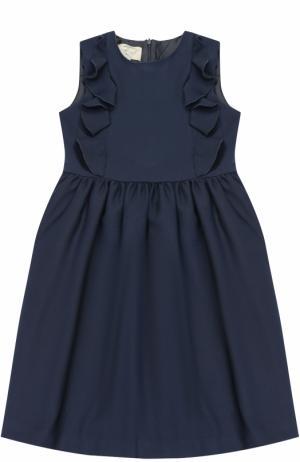 Приталенное платье с декоративными оборками Caf. Цвет: темно-синий