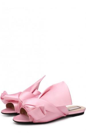 Атласные сабо с бантом No. 21. Цвет: розовый
