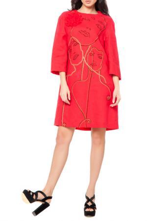 Платье с брошью Yukostyle. Цвет: красный