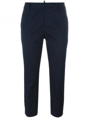 Укороченные брюки кроя слим Dsquared2. Цвет: синий