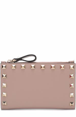 Кожаный бумажник Rockstud Valentino. Цвет: бежевый