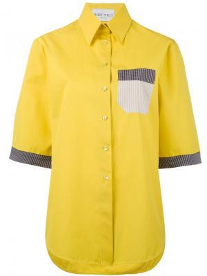 High neck shortsleeved shirt Daizy Shely. Цвет: жёлтый и оранжевый