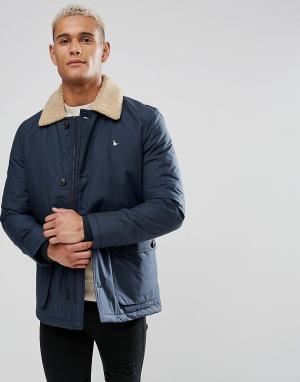 Jack Wills Темно-синяя куртка с воротником из искусственного меха Brid. Цвет: темно-синий