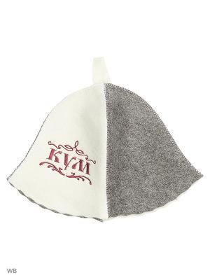 Шапка для бани с вышивкой в косметичке Кум Метиз. Цвет: белый, серый