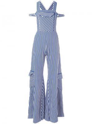 Расклешенный комбинезон с карманами Richard Malone. Цвет: синий