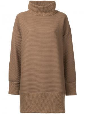 Короткое платье-толстовка Osakentaro. Цвет: коричневый