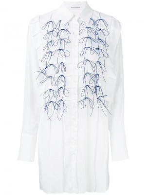 Платье-рубашка с вышивкой Marco De Vincenzo. Цвет: белый