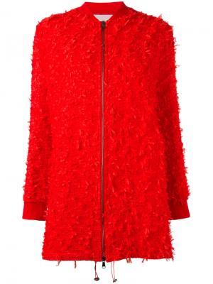 Пальто с бахромой Giamba. Цвет: красный