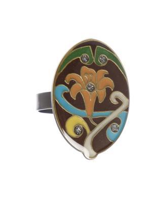 Кольцо Clara Bijoux. Цвет: бирюзовый, коричневый, оранжевый