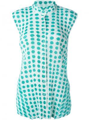 Плиссированная рубашка  с принтом Pleats Please By Issey Miyake. Цвет: белый