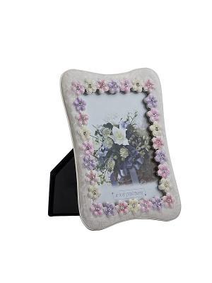 Фоторамка с бабочкой и цветами, белая, металлическая со стразами 10х15см PLATINUM quality. Цвет: белый