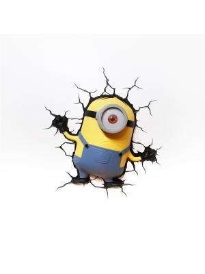 Пробивной 3D светильник Minions-Stuart (Стюарт) Minions. Цвет: черный, серо-голубой, серебристый, желтый, белый