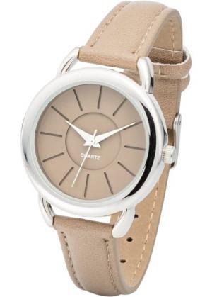 Наручные часы (серо-коричневый/серебристый) bonprix. Цвет: серо-коричневый/серебристый