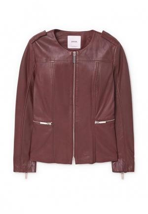 Куртка кожаная Mango. Цвет: бордовый